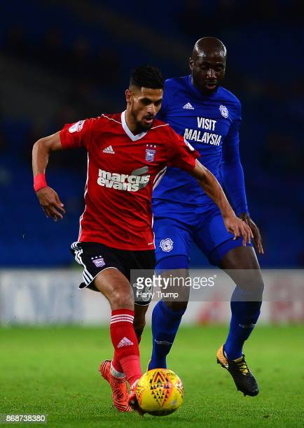 Kevin Bru of Ipswich Town is tackled by Souleymane Bamba of Cardiff City during the Sky Bet Championship match between Cardiff City and Ipswich Town...