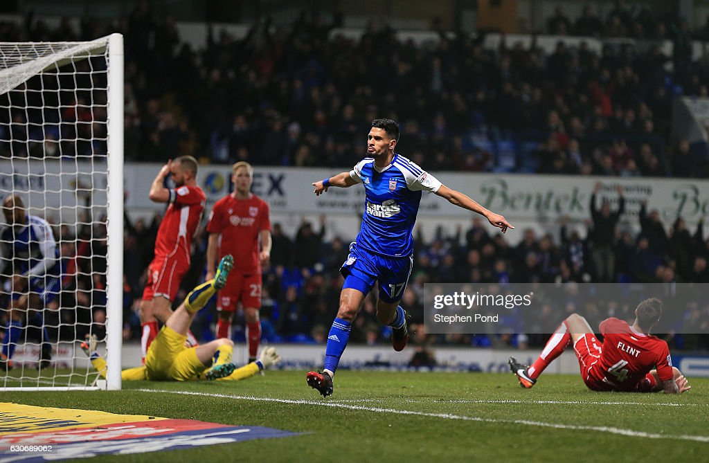 Kevin Bru of Ipswich Town scores the opening goal during the Sky Bet Championship match between Ipswich Town and Bristol City at Portman Road on December 30, 2016 in Ipswich, England.