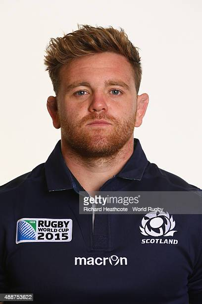 Kevin Bryce of Scotland during the Scotland Rugby World Cup 2015 squad photo call at the Hilton Puckrup Hall Hotel on September 17 2015 in Tewkesbury...