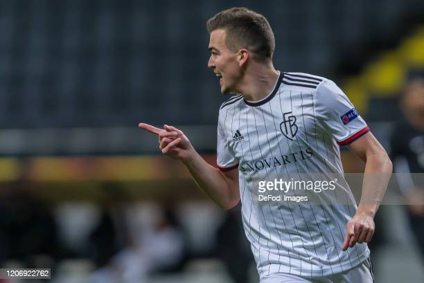 Kevin Bua of FC Basel 1893 celebrates after scoring his team's second goal during the UEFA Europa League round of 16 first leg match between...