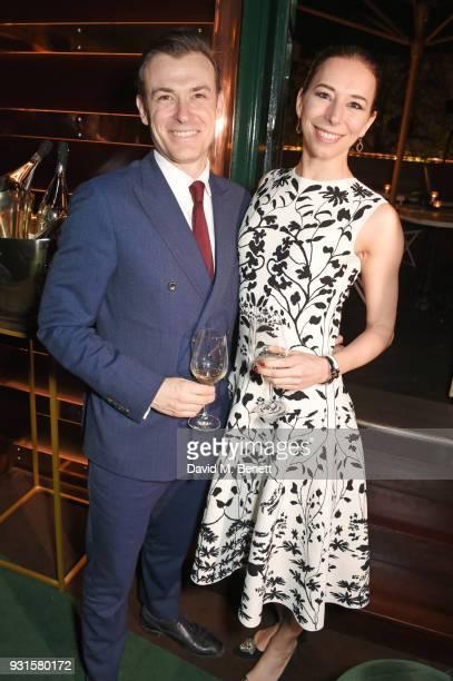 Kevin Bundy and Kristina Blahnik attend the launch of Champagne Armand de Brignac Blanc de Blancs en Magnum at Casa Cruz on March 13 2018 in London...
