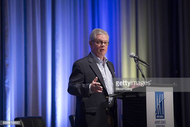 Kevin Burke, president and chief executive officer of Airports Council International - North America , speaks during the 2016 JumpStart Air Service...