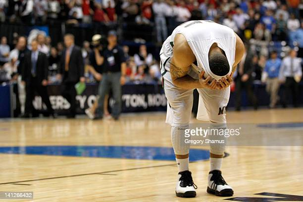 Kevin Burwell of the Mississippi Valley State Delta Devils reacts after losing to the Western Kentucky Hilltoppers 59-58 in the first round of the...