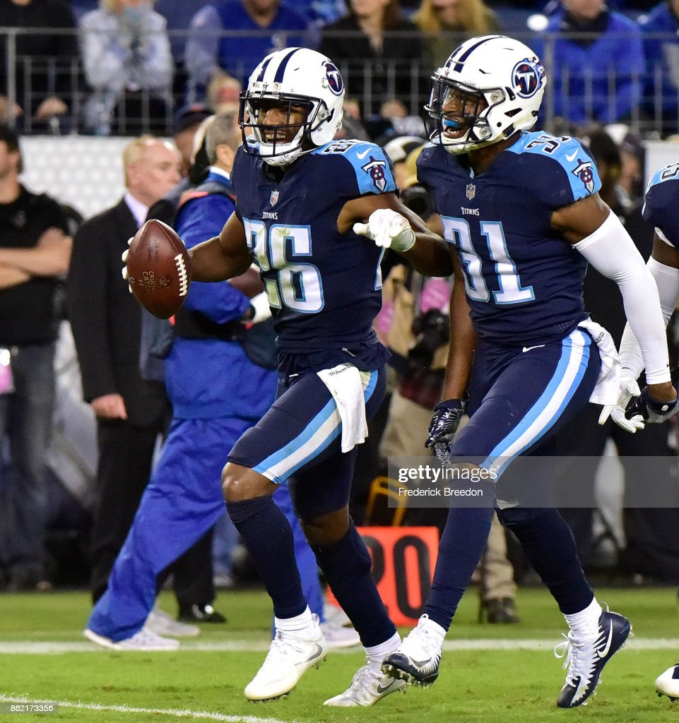 Kevin Byard #31 and Logan Ryan #26 celebrate after recovering a fumble against the Indianapolis Colts during the second half of a 36-22 Titan victory at Nissan Stadium on October 16, 2017 in Nashville, Tennessee.