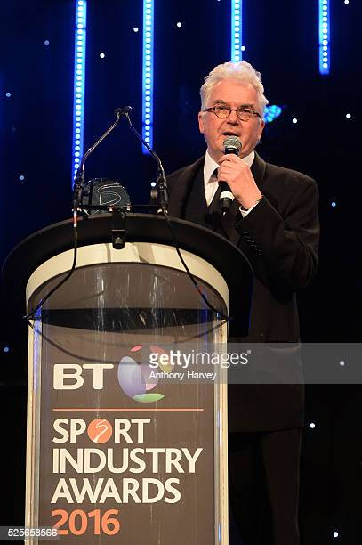 Kevin Cahill accepts his Coutts Lifetime Achievement award at the BT Sport Industry Awards 2016 at Battersea Evolution on April 28 2016 in London...