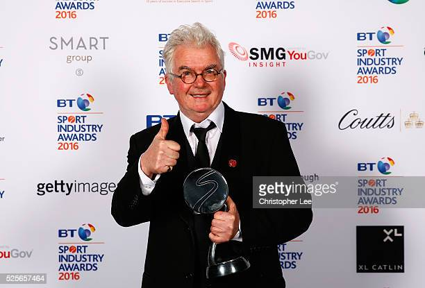 Kevin Cahill poses with his Coutts Lifetime Achievement award at the BT Sport Industry Awards 2016 at Battersea Evolution on April 28 2016 in London...