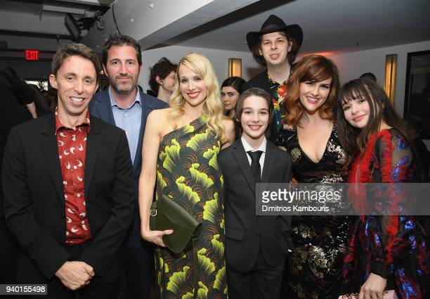 Kevin Cahoon Mark Palansky Lucy Punch Dylan Kingwell Matty Cardarople Sarah Rue and Malina Weissman attend the Netflix Premiere of 'A Series of...