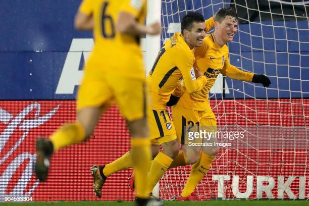 Kevin Cameiro of Atletico Madrid celebrates 01 with Angel Correa of Atletico Madrid during the La Liga Santander match between Eibar v Atletico...