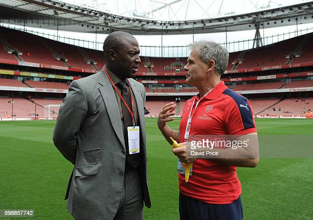 Kevin Campbell and Anders Limpar of Arsenal Legends before the Arsenal Foundation Charity match between Arsenal Legends and Milan Glorie at Emirates...