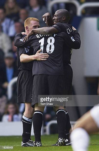 Kevin Campbell and Mark Pembridge of Everton celebrate with Wayne Rooney after scoring the second goal during the West Bromwich Albion v Everton...