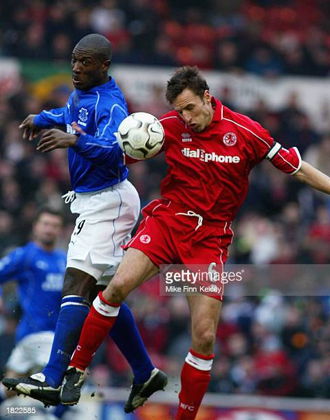Kevin Campbell of Everton and Gareth Southgate of Middlesbrough both jump for the ball during the FA BArclaycard Premiership match between...