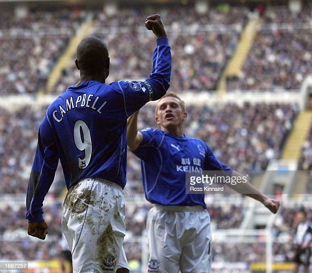 Kevin Campbell of Everton celebrates after scoring the opening goal during the FA Barclaycard Premiership match between Newcastle United and Everton...