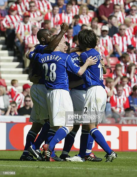 Kevin Campbell of Everton celebrates scoring during the match between Sunderland and Everton in the FA Barclaycard Premiership at The Stadium of...