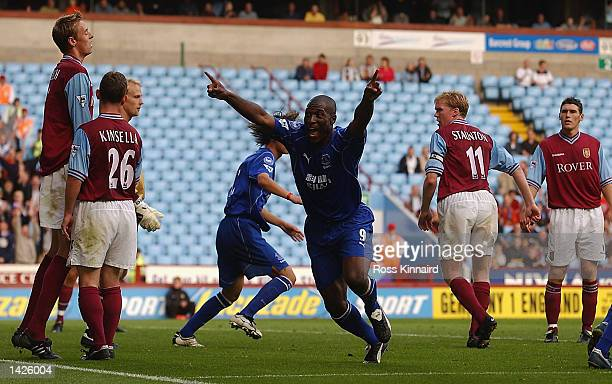 Kevin Campbell of Everton celebrates scoring the second goal during the Barclaycard Premiership match between Aston Villa and Everton at Villa Park...