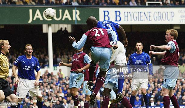 Kevin Campbell of Everton out jumps Jlloyd Samuel of Villa to score during the FA Barclaycard Premiership match between Everton and Aston Villa at...