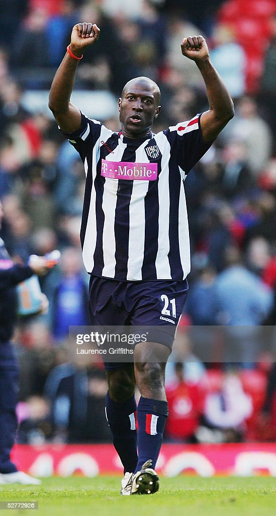 Kevin Campbell of West Bromwich Albion celebrates at the end of the FA Barclays Premiership match between Manchester United and West Bromwich Albion at Old Trafford on May 7, 2005 in Manchester, England.