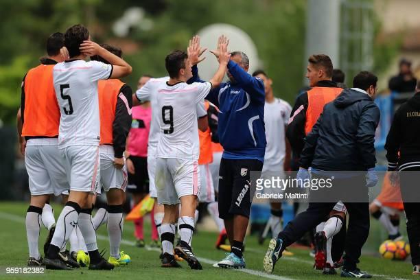 Kevin Cannavo' #9 of US Citta' di Palermo celebrates after scoring a goal during the SuperCoppa primavera 2 match between Novara U19 and US Citta di...