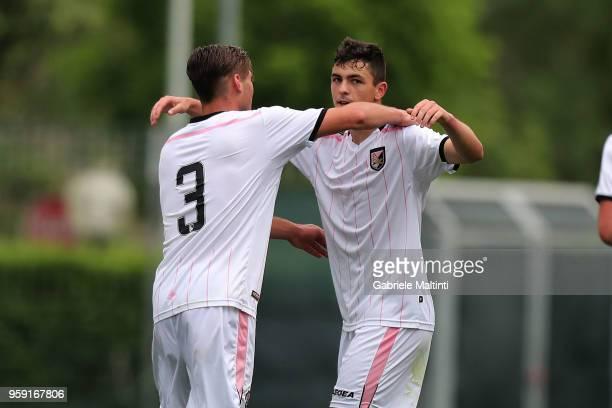 Kevin Cannavo' and Giuseppe Tarantino of US Citta' di Palermo celebrate a goal during the SuperCoppa primavera 2 match between Novara U19 and US...