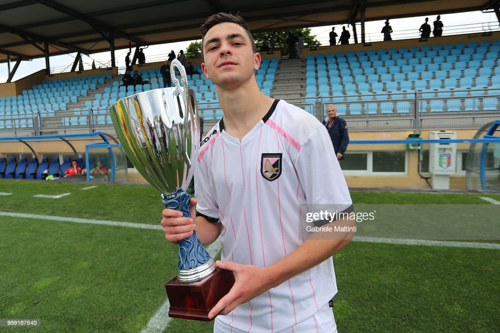 Kevin Cannavo' of US Citta' di Palermo U19 poses during the SuperCoppa primavera 2 match between Novara U19 and US Citta di Palermo U19 at Centro Tecnico Federale di Coverciano on May 16, 2018 in Florence, Italy.