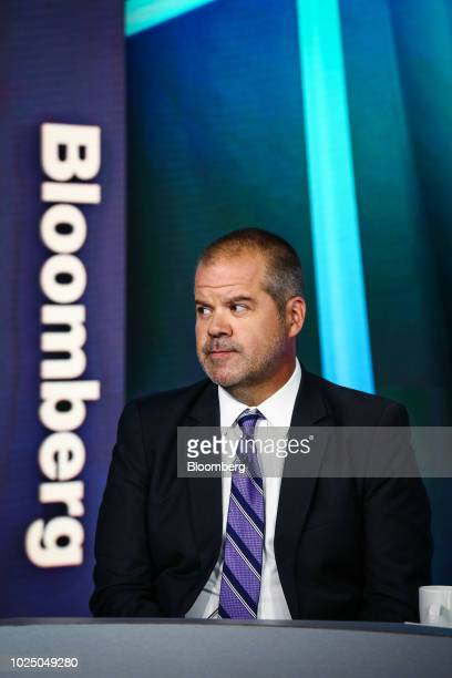 Kevin Carter chief executive officer of Big Tree Capital LLC listens during a Bloomberg Television interview in New York US on Wednesday Aug 29 2018...
