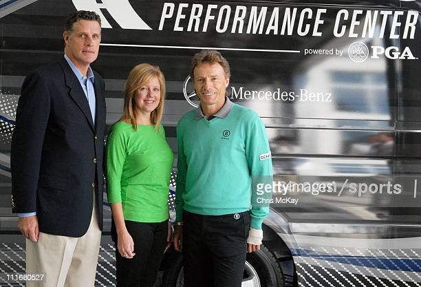 Kevin Carter Lisa Holladay and Bernhard Langer appear at MercedesBenz of Augusta on April 5 2011 in Augusta Georgia