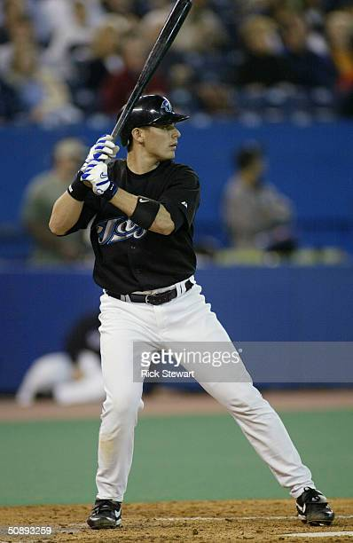 Kevin Cash of the Toronto Blue Jays bats against the Boston Red Sox on May 15 2004 at Skydome in Toronto Ontario Canada The Red Sox won 40