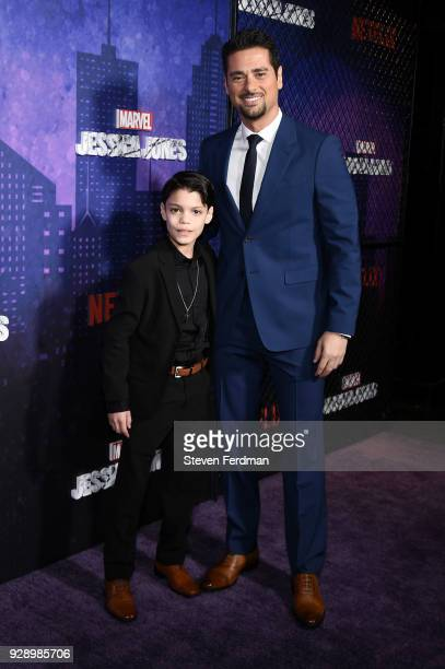 Kevin Chacon and JR Ramirez attend Jessica Jones Season 2 New York Premiere at AMC Loews Lincoln Square on March 7 2018 in New York City