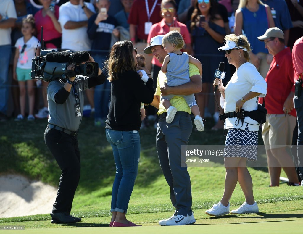 Kevin Chappell celebrates with his family; wife Elizabeth and children Wyatt, 2, and Collins, 3 months during the final round of the Valero Texas Open at TPC San Antonio AT&T Oaks Course on April 23, 2017 in San Antonio, Texas.