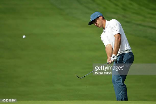 Kevin Chappell chips onto the 12th green during the third round of The Barclays at The Ridgewood Country Club on August 23 2014 in Paramus New Jersey