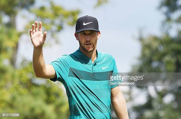 Kevin Chappell makes birdie on the 17th hole during the third round of the TOUR Championship at East Lake Golf Club on September 24 2016 in Atlanta...