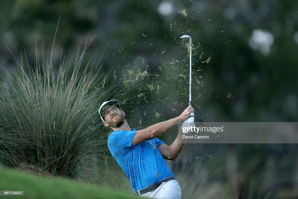 Kevin Chappell of the United States plays his second shot on the par 4, 14th hole during the first round of the THE PLAYERS Championship on the Stadium Course at TPC Sawgrass on May 10, 2018 in Ponte Vedra Beach, Florida.
