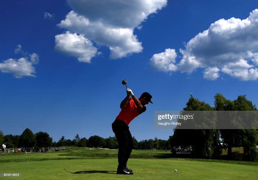 Kevin Chappell of the United States plays his shot from the eighth tee during the final round of the RBC Canadian Open at Glen Abbey Golf Club on July 30, 2017 in Oakville, Canada.