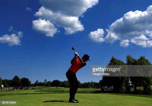 Kevin Chappell of the United States plays his shot from the eighth tee during the final round of the RBC Canadian Open at Glen Abbey Golf Club on...