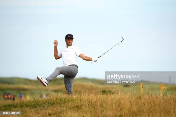 Kevin Chappell of the United States reacts after playing his second shot on the sixth hole during round three of the Open Championship at Carnoustie...