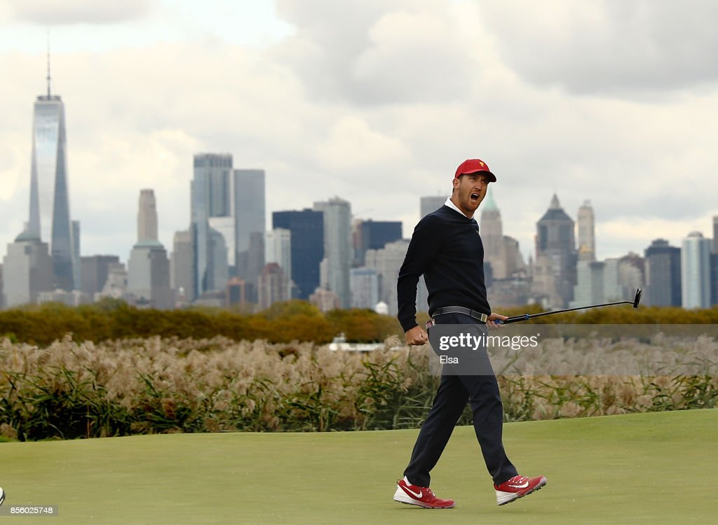 Kevin Chappell of the U.S. team celebrates on the 10th green during Saturday four-ball matches of the Presidents Cup at Liberty National Golf Club on September 30, 2017 in Jersey City, New Jersey.