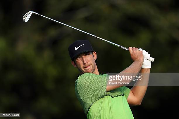 Kevin Chappell plays his shot from the 17th tee during the third round of the Deutsche Bank Championship at TPC Boston on September 4 2016 in Norton...