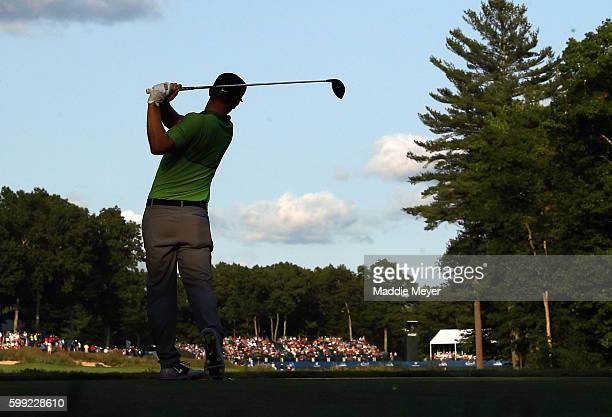 Kevin Chappell plays his shot from the 18th tee during the third round of the Deutsche Bank Championship at TPC Boston on September 4, 2016 in...