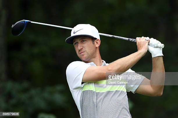 Kevin Chappell plays his shot from the fifth tee during the second round of the Deutsche Bank Championship at TPC Boston on September 3 2016 in...