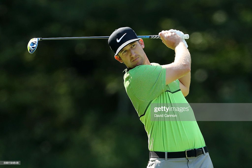 Kevin Chappell plays his shot from the fifth tee during the third round of the Deutsche Bank Championship at TPC Boston on September 4, 2016 in Norton, Massachusetts.