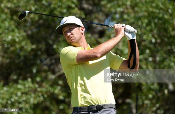 Kevin Chappell plays his shot from the second tee during the final round of the Valero Texas Open at TPC San Antonio ATT Oaks Course on April 23 2017...