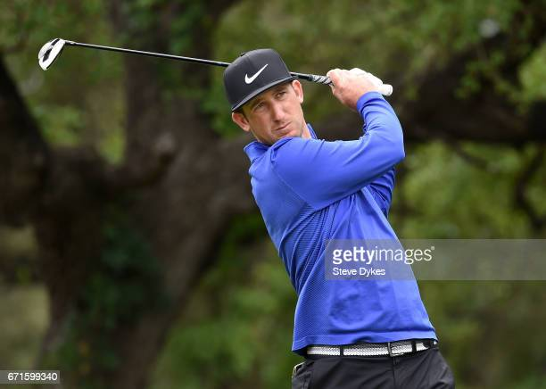 Kevin Chappell plays his shot from the sixth tee during the third round of the Valero Texas Open at TPC San Antonio ATT Oaks Course on April 22 2017...