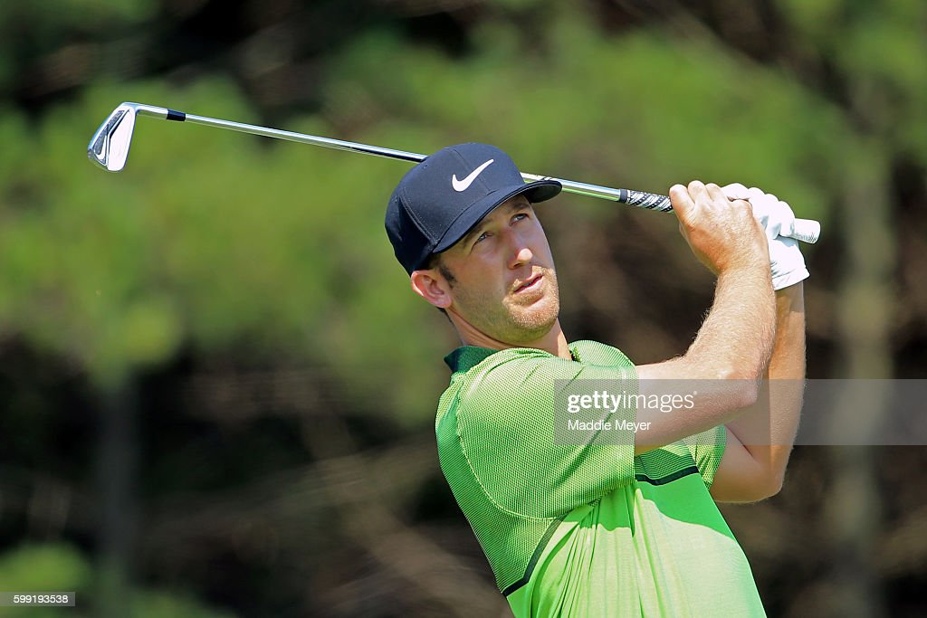 Kevin Chappell plays his shot from the third tee during the third round of the Deutsche Bank Championship at TPC Boston on September 4, 2016 in Norton, Massachusetts.