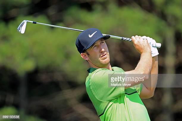 Kevin Chappell plays his shot from the third tee during the third round of the Deutsche Bank Championship at TPC Boston on September 4 2016 in Norton...