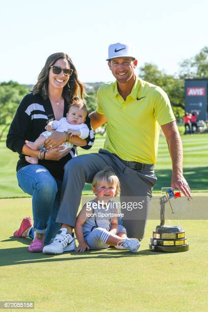Kevin Chappell poses with his family after winning the Valero Texas Open at the TPC San Antonio Oaks Course in San Antonio TX on April 23 2017