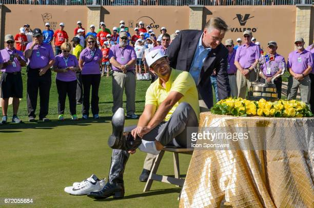 Kevin Chappell putts on the champion's boots after winning the Valero Texas Open at the TPC San Antonio Oaks Course in San Antonio TX on April 23 2017