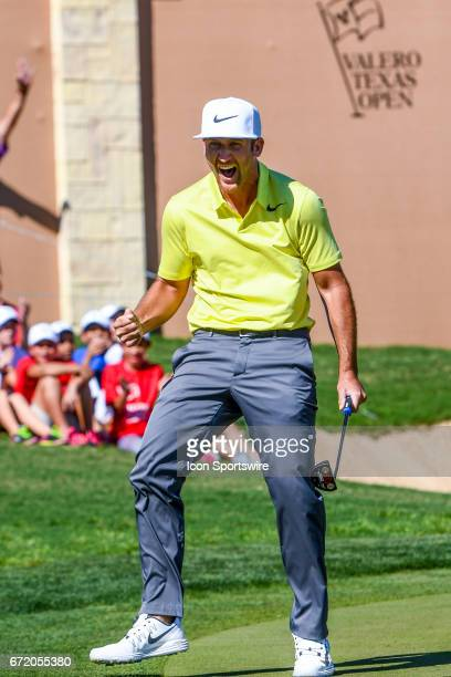 Kevin Chappell reacts after sinking the winning putt at the Valero Texas Open at the TPC San Antonio Oaks Course in San Antonio TX on April 23 2017