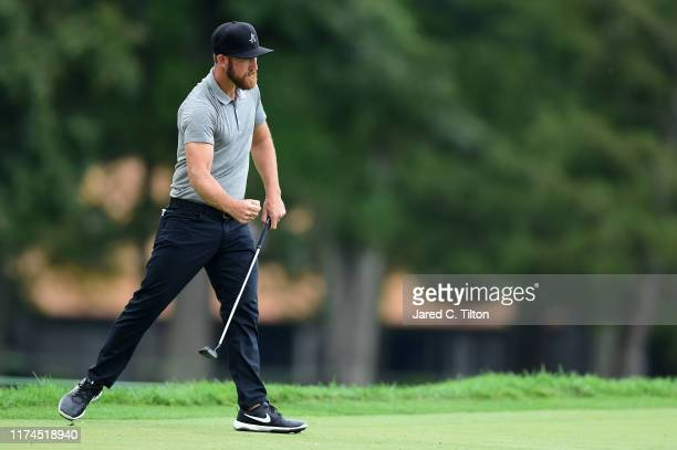 Kevin Chappell reacts following his birdie putt on the seventh green during the second round of A Military Tribute At The Greenbrier held at the Old...