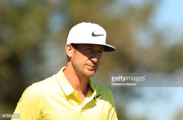 Kevin Chappell walks up the 18th fairwayduring the final round of the Valero Texas Open at TPC San Antonio ATT Oaks Course on April 23 2017 in San...