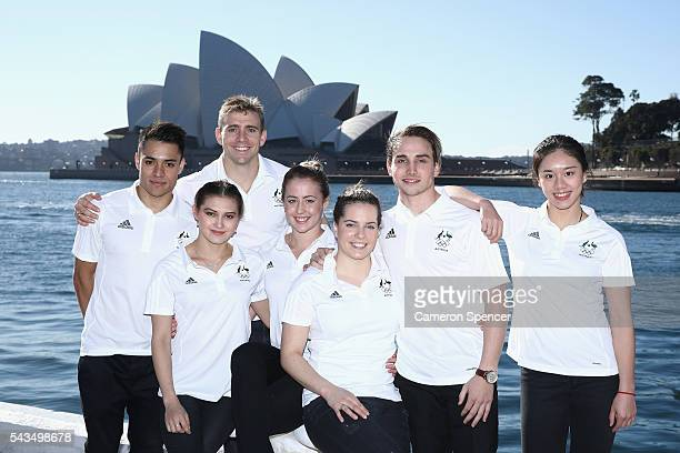 Kevin Chavez, Melissa Wu, Grant Nel, Brittany Broben, Annabelle Smith, Domonic Bedggood and Esther Qin of the Australian Olympic Diving team pose...