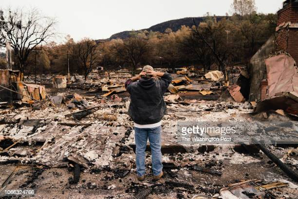 Kevin Ciotta looks over the burned out community center at the Butte Creek Mobile Home Park in Chico California on Monday November 26 2018